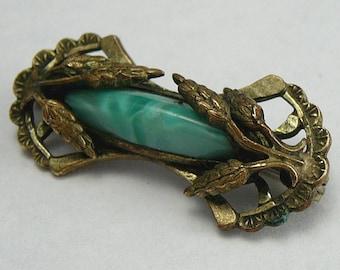 Art Deco Peking Glass Brooch Vintage Pin