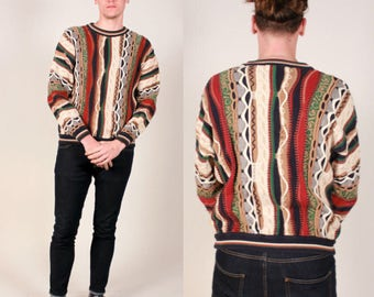 Vintage Textured Abstract Knit Sweater