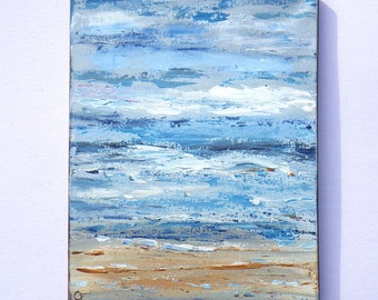 Abstract beach painting, beach painting 11x14 vertical ocean painting with texture, denim blue colors