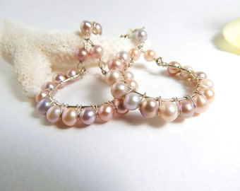 Large Pink Pearl Hoop Earrings - AdoniaJewely