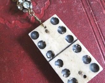 SALE Doubles...Antique Domino Assemblage Necklace