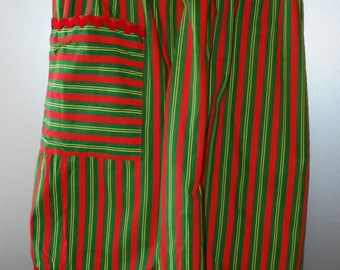 vintage striped apron - red and green - red rick rack trim apron - 1970's - Christmas Apron