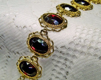 Ruby Red Jewel Bracelet, Glass Jewel Bracelet, Victorian Florentine Lace Filigree Antique Gold Statement Cuff, Czech Glass July Birthstone