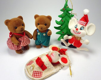 Flocked Mice and Bears Christmas Ornaments, Christmas Home Decor, Mid Century
