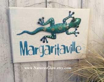 Margaritaville, Tropical Sign Decor, Beach House Sign, Beach Decor, Home Bar Decor, Tiki Sign, Gecko, Tiki Bar, Coastal Decor, Happy Hour