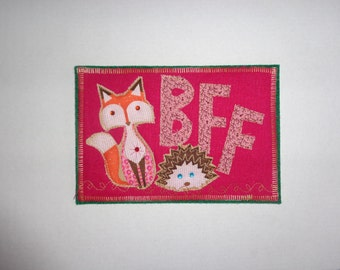 Fabric post card - fox and hedgehog BFF fiber art card