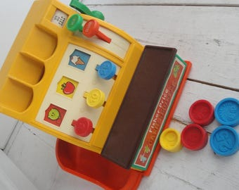 Vintage 1974 Fisher Price Cash Register and Coins