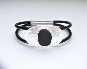 Sea Glass Jewelry - Sterling Rare Black English Sea Glass Bracelet