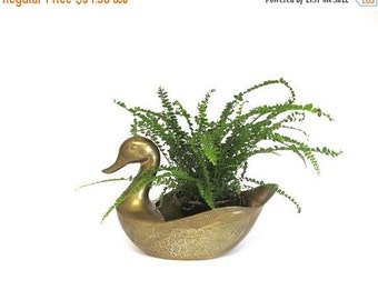 ON SALE Vintage Brass Swan Plant Holder