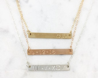 Stamped Bar Necklace | Gold Filled, Rose Gold Filled, Sterling Silver | Custom | Coordinates | Dates | Customized Stamped Bar Necklace