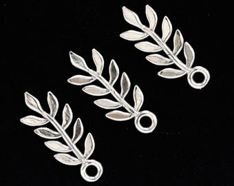 2 Simple Sterling Silver Leaf Charms - 18mm X 7mm