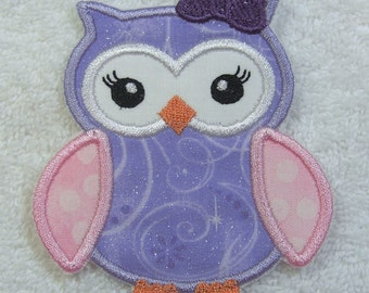 Sweet Owl Fabric Embroidered Iron On Applique Patch Ready to Ship