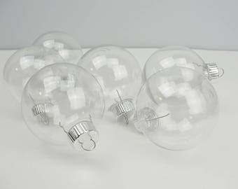 Plastic fillable round shaped ornament diy set of 6