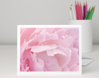 Pink Peony Flower Petals Photo Note Card, pastel pink floral photography notecard, all occasion stationery, blank greeting card, a2 or a7