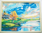 SALE - Handpainted Scenic Picture, Vintage Wood Frame. paint by number
