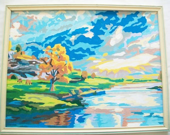 Handpainted Scenic Picture, Vintage Wood Frame. paint by number