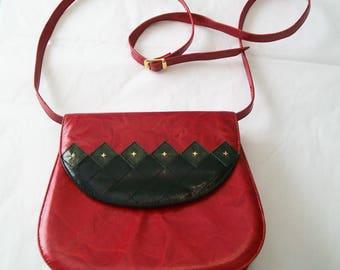 SALE - Vintage Handbag, Margaret J, Dark Red, Leather Upper, shoulder bag, 1980s