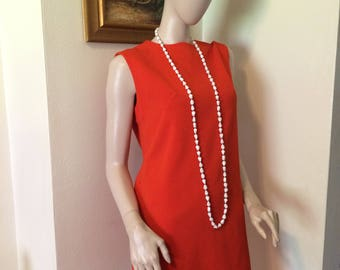 Vintage 1960s Mod Orange Ladies Shift  Day Dress Size Medium