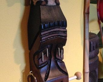 Mr slivers carved wood shrunken head wall hanging necklace holder display