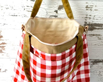 Large travel tote Cherry Red Plaid, with tan water resistant canvas Retro 50's check  made in the USA by Darby Mack, in stock