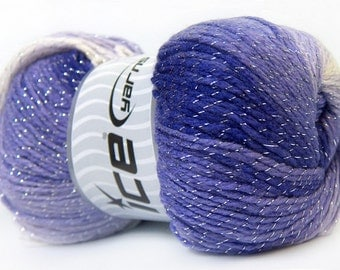 100 gr Magic Glitz 22061 Purple White Silver Metallic Self-Striping DK Yarn