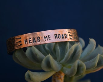 Hear Me Roar - Planned Parenthood - Copper Cuff - Cuff Bracelet - Pro Choice - Feminist - Women's March - March on Washington - Human Rights