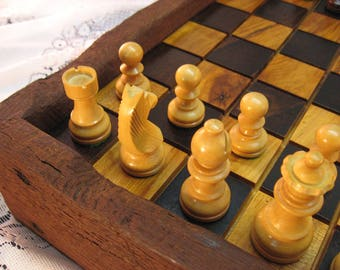 Wormy Chestnut Chess Set from Reclaimed 1830's  Barn Beams