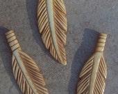 "ON SALE 3 carved bone feathers - antiqued, 2.5"" elk bone feather pendants, bone feathers, three 2.5"" carved feather, feather pendant"