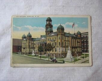 Vintage Postcard of City Building, Wheeling, W. Virginia, Vintage Virginia Postcard, Washington, Pennsylvania Postcard,1931 Postcard Indiana