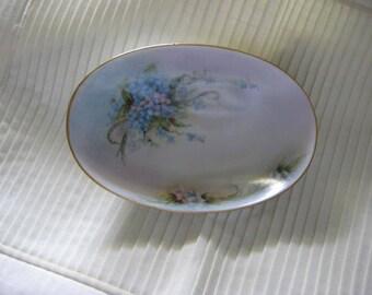 Forget Me Not Oval Dish, Oval Porcelain Dish, Hand Painted Forget Me Nots Porcelain Bowl, Forget Me Not Serving Bowl, Dresser Dish Porcelain