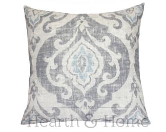 Gray Slate Ikat Damask Pillow Cover , Cotton Linen Blend, 18 x 18, 20 x 20, Throw Pillow , Damask Accent Pillow, Gray Ikat , Slate