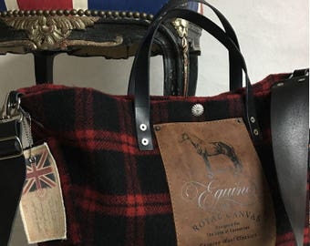 BF Equine Wool Plaid Utility Bag