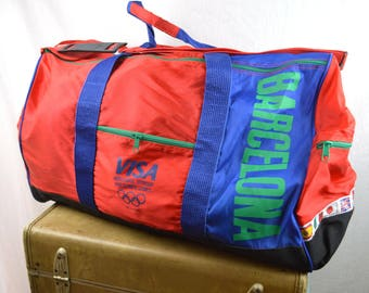 Vintage 1992 Barcelona Olympics Red Oversized Overnight XL Red Blue Duffel Bag