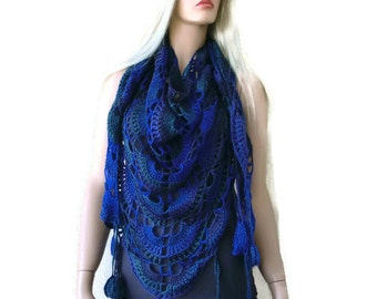 Knidos scarf-Cobalt blues, forest greens and subtle purples. Boho scarf , Crochet lace scarf with fringes-Handmade boho scarf