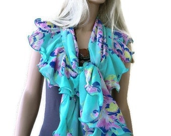Mint green chiffon ruffle wrap/shrug/scarf-   Textilemonster exclusive floral shrug Rich and Sophisticated-Size S/M