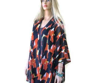 Madrid- Kimono cardigan-Abstract print-Brick Red Black White with a touch of yellow-Silky chiffon Ruana -Summer collection-Layering piece