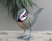 Crested Tit Sculpture - FABRIC BIRD - Ready to Ship