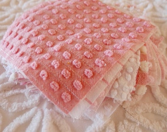 "Vintage Chenille Fabric Quilt Squares - 20 - 6"" squares in Pink & white, all Morgan Jones - 500-99"