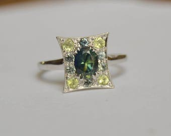 Sapphire Ring, 14 Kt White Gold Ring, Chrysoberyl Ring, White Gold Ring, Pillow Ring, September Birthstone Ring, Halo Ring