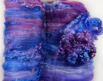 Sapphire Lilac Wild Card Bling Batt for spinning and felting (5.2 ounces), batt, art batt