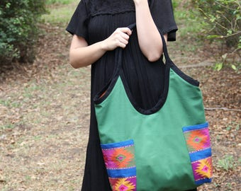 Cactus green and multi colored  cotton canvas bag with hand woven details