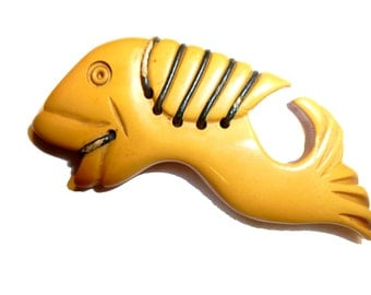 "Yellow Bakelite Carved Figural Fish Brooch. 2.5"" Long Unusual Weird Fish Pin Guranteed to be Vintage Authentic Bakelite. 1940s."