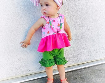Watermelon Cropped Top or Dress, kids, toddlers girls