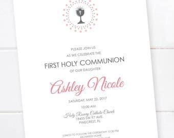 Confirmation Invitation, First Communion Invitation, Baptism, First Eucharist, Announcement, Confirmation Invitation Custom Colors PRINTABLE