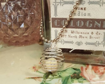 Essential Oils Necklace.  Silver and Coral Aromatherapy Pendant.