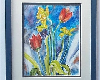 Watercolor Tulips & Daffodils, Watercolor Print, Double Matted, Framed 12 x 15 Inches, Red Tulips, Yellow Daffodils, Artist Hope Kunst Rice