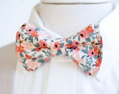 Bow Tie, Mens Bow Tie, Bowtie, Bowties, Bow Ties, Groomsmen Bow Ties, Wedding Bowties, Ties, Rifle Paper Co - PRE-ORDER Rosa In Peach