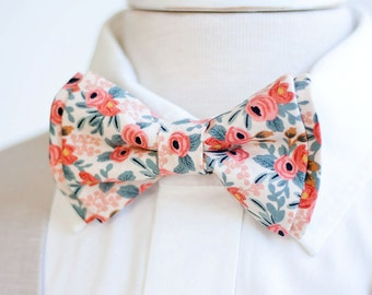 Bow Tie, Mens Bow Tie, Bowtie, Bowties, Bow Ties, Groomsmen Bow Ties, Wedding Bowties, Ties, Rifle Paper Co - Rosa In Peach