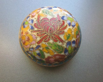 Vintage Enameled Pill Box Small Floral Container Ring Box