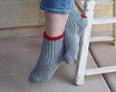 SALE 25% off gray socks red heart hand knit light gray red heart warm socks Christmas winter holidays gift under 35 girls socks